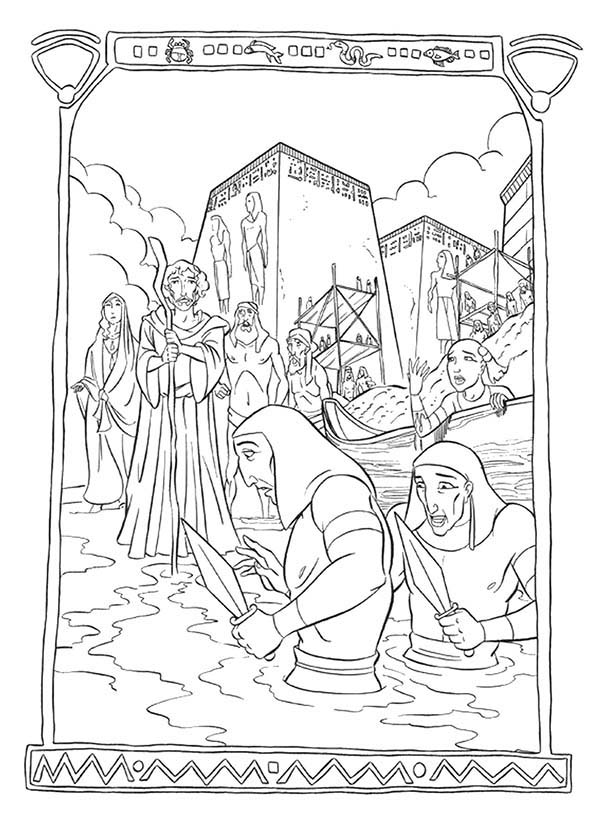 Prince Of Egypt, : The Prince of Egypt Pharaoh Soldier Drown in the River Nile Coloring Pages