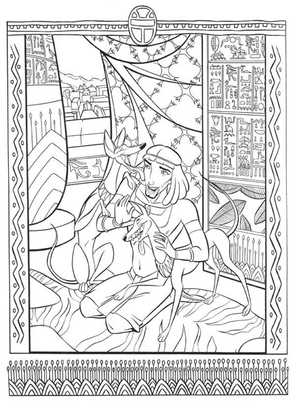Prince Of Egypt, : The Prince of Egypt Playing with His Pet Coloring Pages