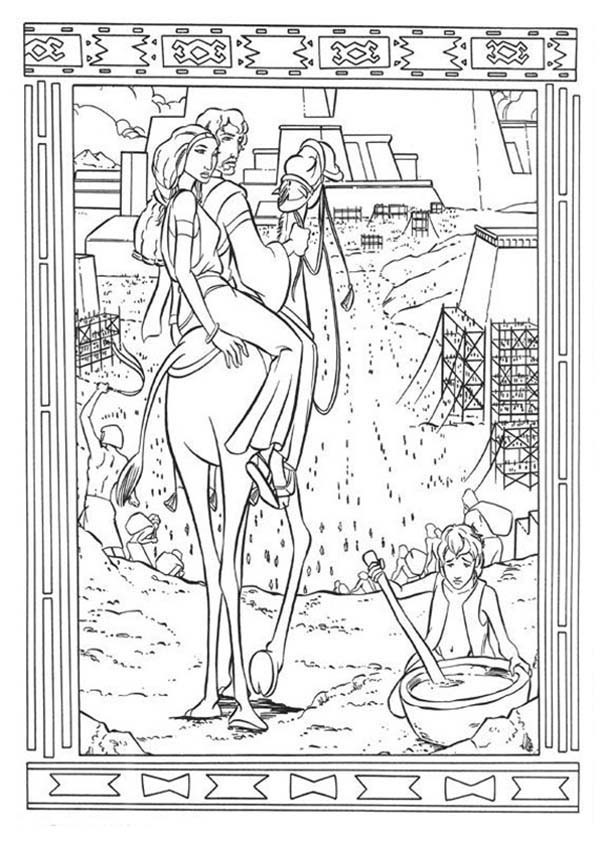 Prince Of Egypt, : The Prince of Egypt and Miriam Watch People of Egypt Suffer Coloring Pages