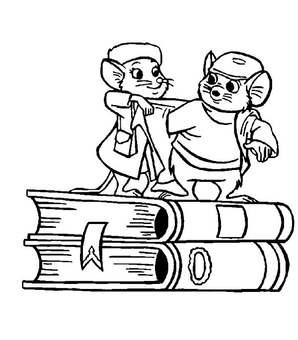The Rescuers, : The Rescuers Miss Bianca Put Jacket on Bernard Coloring Pages
