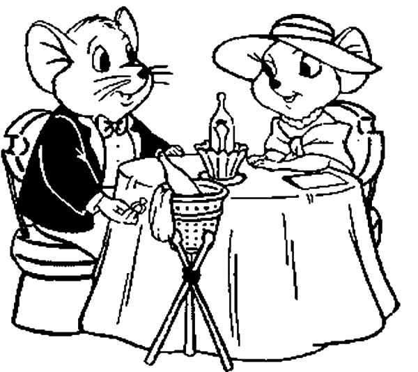 The Rescuers, : The Rescuers Miss Bianca and Bernard Romantic Dinner Coloring Pages