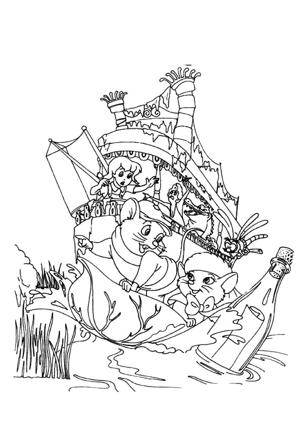The Rescuers, : The Rescuers Save Message in a Bottle Coloring Pages