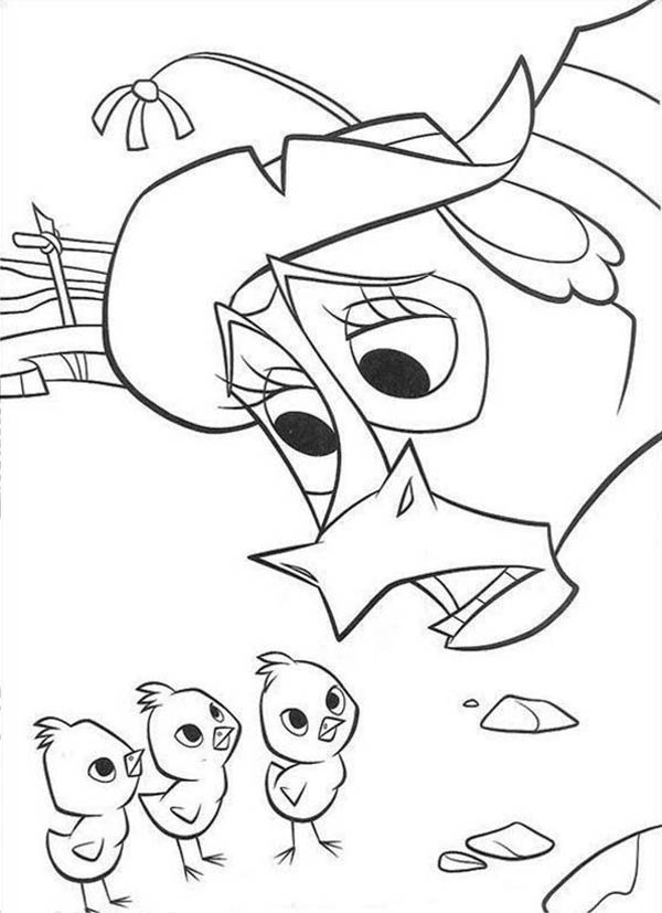 Home On The Prairie, : Three Chicks Home on the Prairie Coloring Pages