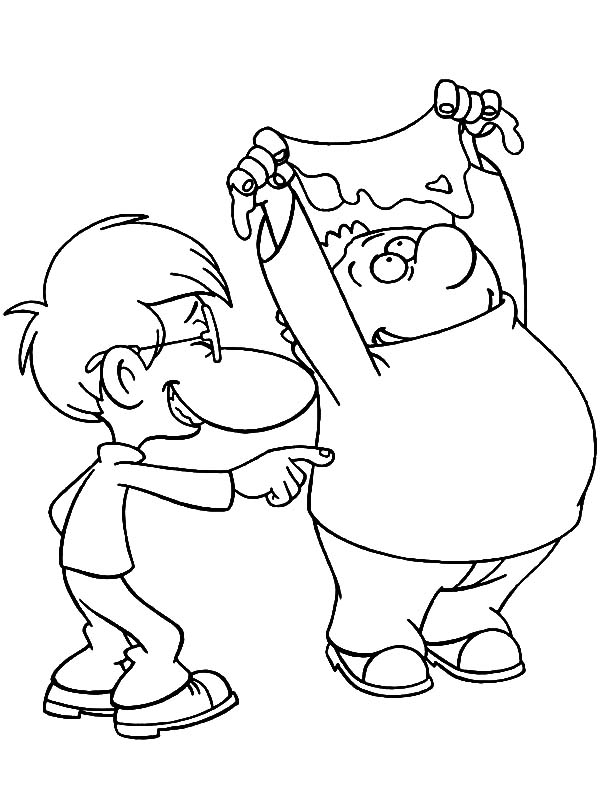 Titeuf, : Titeuf Laughing at His Friend Coloring Pages