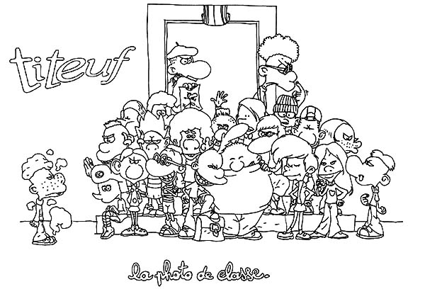 Titeuf, : Titeuf Photo with His Classmate Coloring Pages