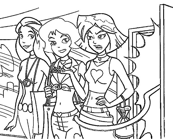 Totall Spies, : Totall Spies Alex Talking to Her Friends Coloring Pages