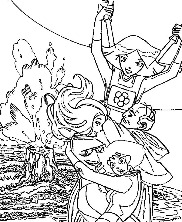 Totall Spies, : Totall Spies Escape from Volcano Coloring Pages