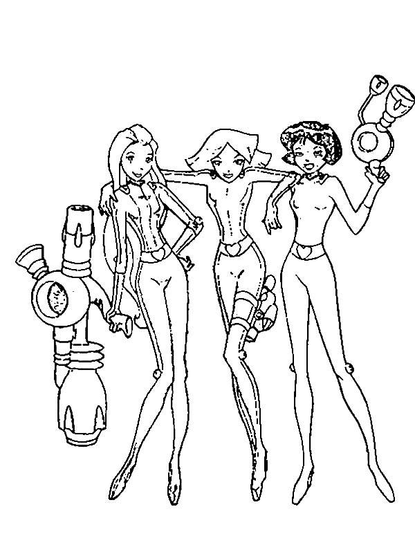 Totall Spies, : Totall Spies Holding Their Weapon Coloring Pages