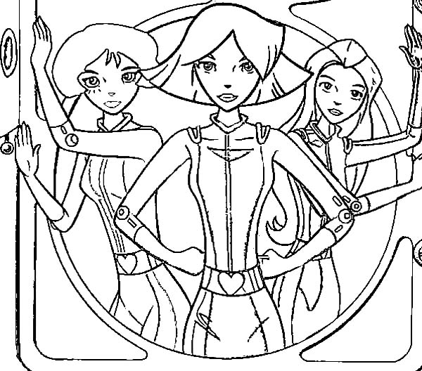 Totall Spies, : Totall Spies in Action Coloring Pages