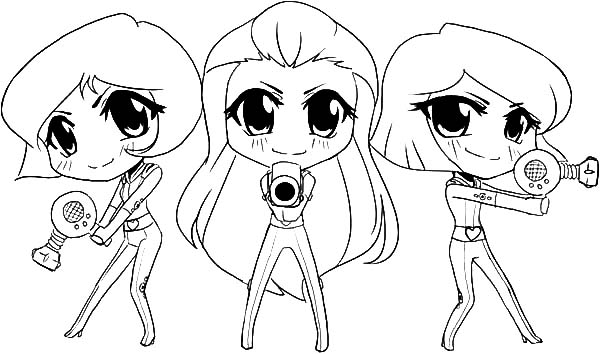 Totall Spies, : Totally Spies Chibis Coloring Pages