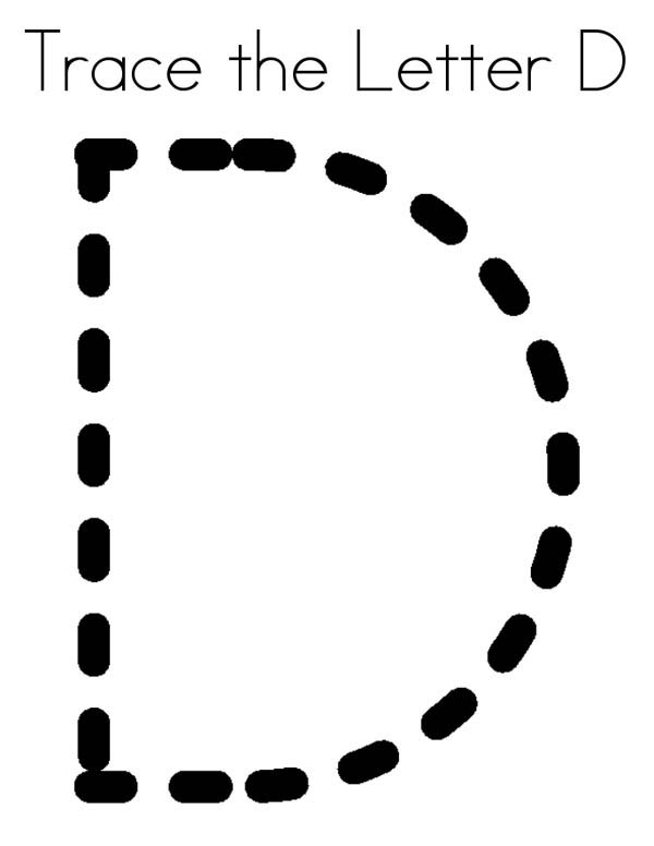 Letter D, : Trace the Letter D Coloring Page