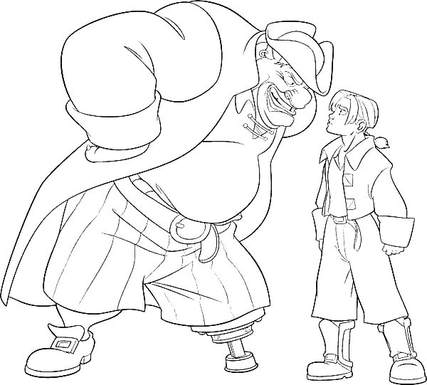 Treasure Planet, : Treasure Planet Jim Hawkins Arguing with John Silver Coloring Pages