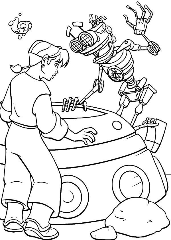Treasure Planet, : Treasure Planet Jim Hawkins Making Plan with B.E.N and Morph Coloring Pages