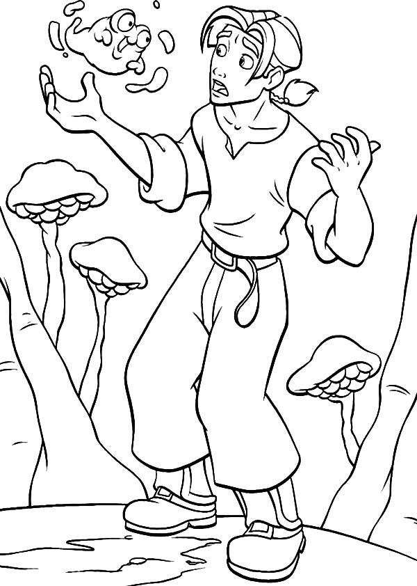 Treasure Planet, : Treasure Planet Jim Hawkins Talking to Morph Coloring Pages