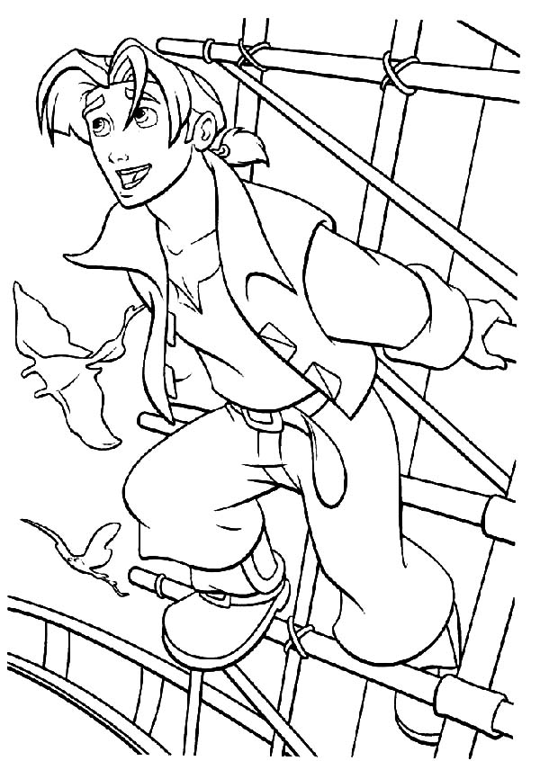 Treasure Planet, : Treasure Planet Jim Hawkins Want to Fly Coloring Pages