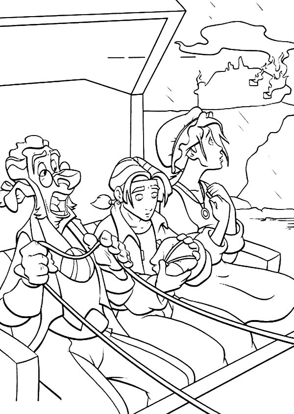 Treasure Planet, : Treasure Planet Jim Hawkins and Friends Escape from Enemies Coloring Pages