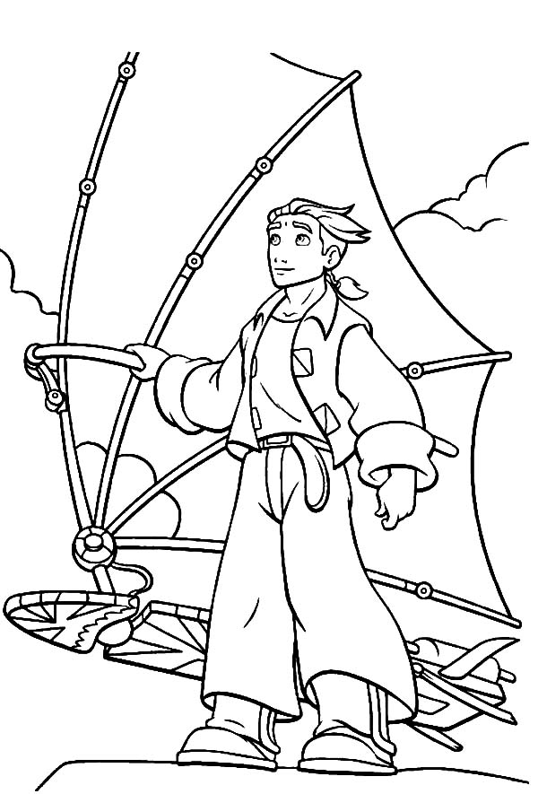 Treasure Planet, : Treasure Planet Jim Hawkins and His Awesome Solar Sail Coloring Pages
