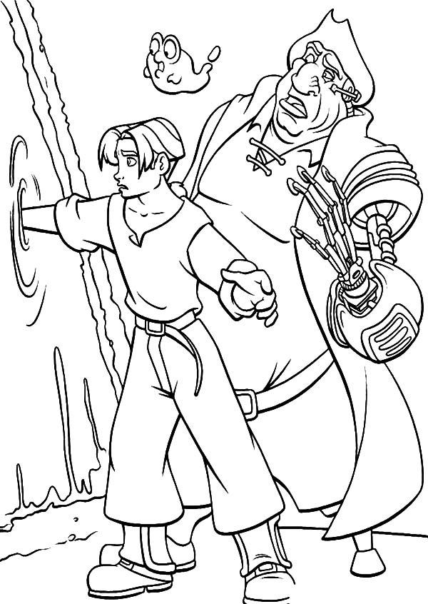 Treasure Planet, : Treasure Planet Jim Hawkins and John Silver Coloring Pages