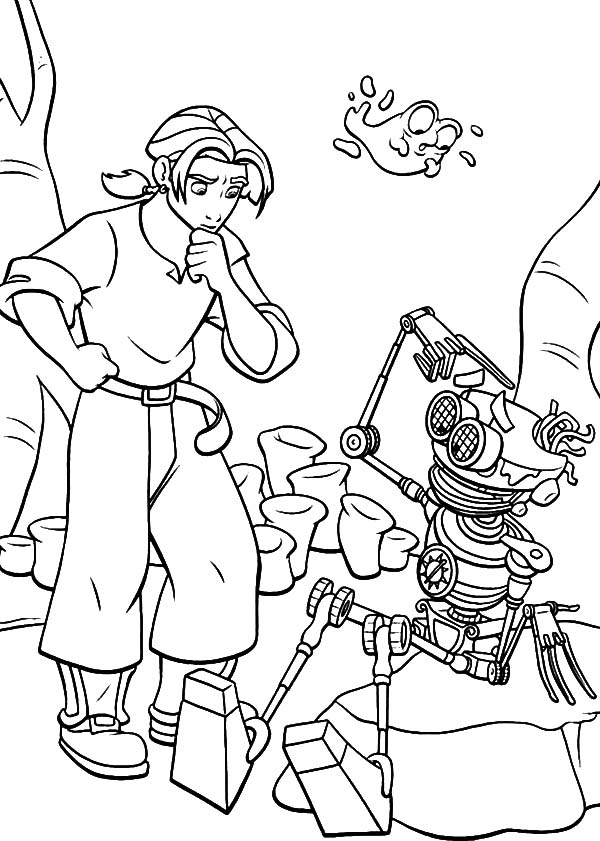 Treasure Planet, : Treasure Planet Jim Try to Fix B.E.N Coloring Pages