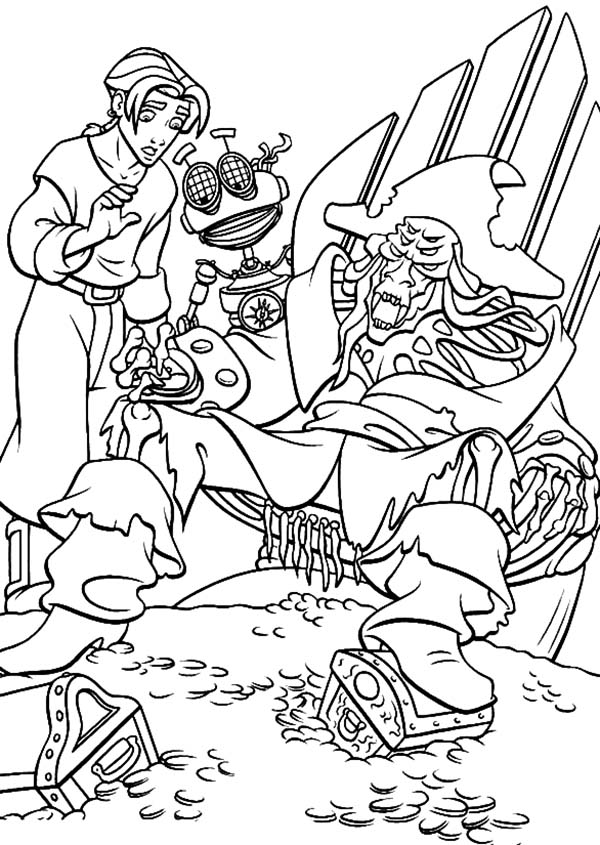 Treasure Planet, : Treasure Planet Jim and B.E.N Found Dead Pirate Coloring Pages