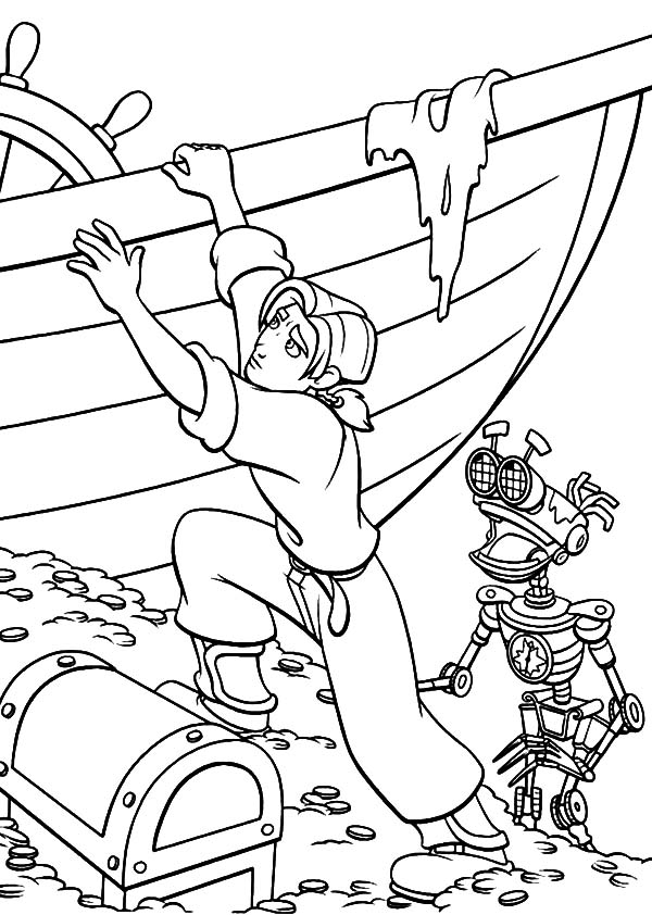 Treasure Planet, : Treasure Planet Jim and B.E.N Step on Broken Pirate Ship Coloring Pages
