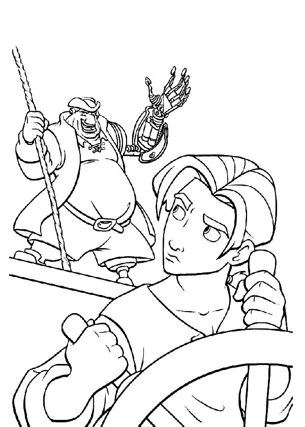 Treasure Planet, : Treasure Planet John Command Jim to Hold Steering wheel Coloring Pages