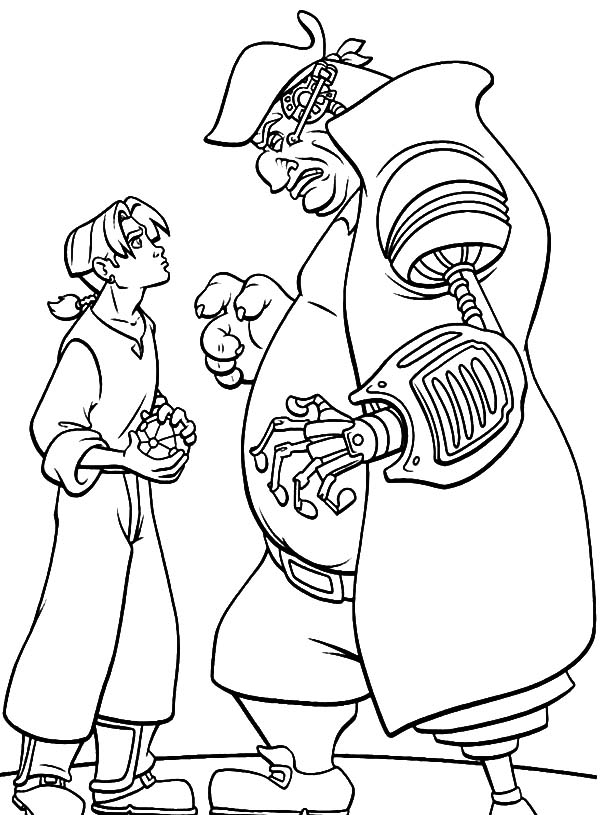 Treasure Planet, : Treasure Planet John Silver Want to Take the Sphere from Jim Hawkins Coloring Pages