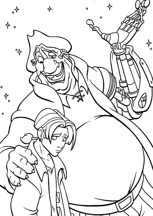 Treasure Planet, : Treasure Planet John Try to Comfort Jim Coloring Pages