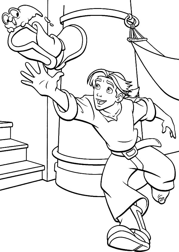 Treasure Planet, : Treasure Planet Morph Take Jim Hawkins Shoe Away Coloring Pages