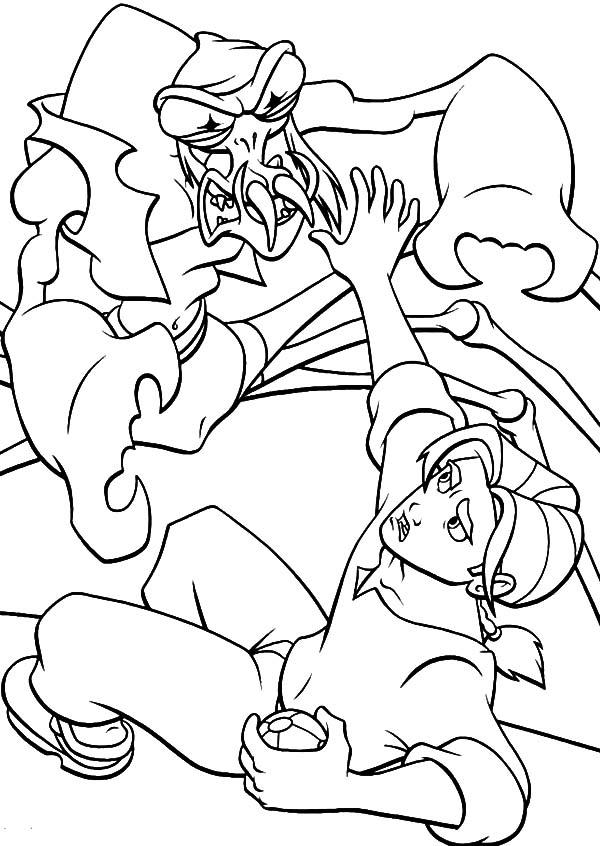 Treasure Planet, : Treasure Planet Scroop Versus Jim Hawkins Coloring Pages