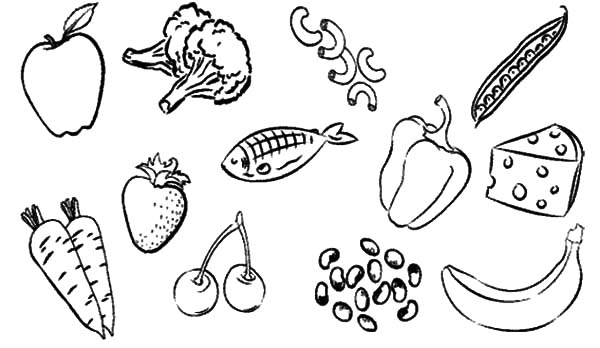 Healthy Eating, : Type Healthy Food for Eating Coloring Pages