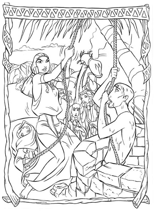 Prince Of Egypt, : Tzipporah Lift The Prince of Egypt from Well Coloring Pages