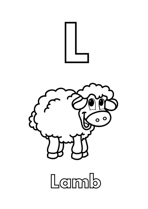 Letter l, : Upper Case Letter L for Lamb Coloring Page