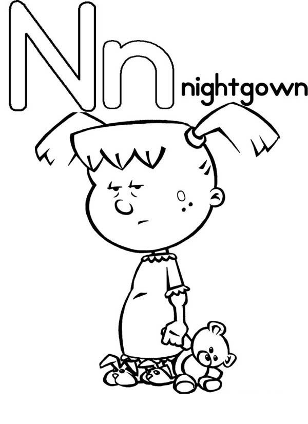 Letter n, : Upper Case Letter N for Nightgown Coloring Page
