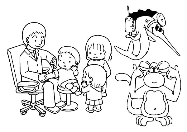 Health, : Vaccination for Childrens Health Coloring Pages