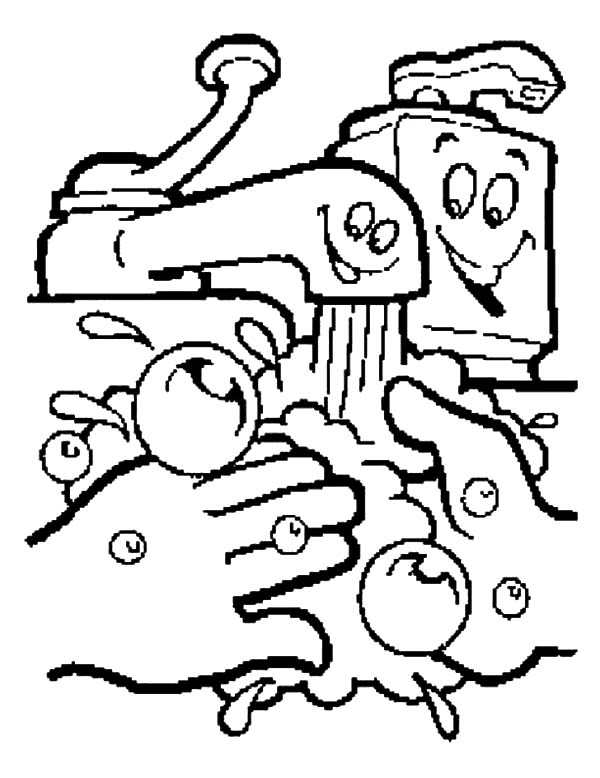 Health, : Wash Your Hands Care Your Health Coloring Pages