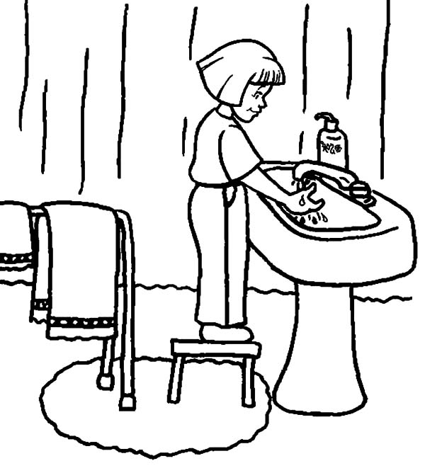 Hand Washing, : Washing Hand Before Sleep Coloring Pages