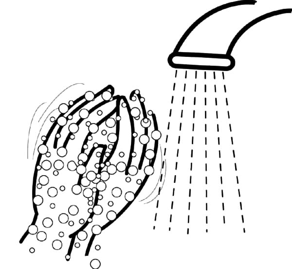 Hand Washing, : Washing Hand Bubbles Coloring Pages