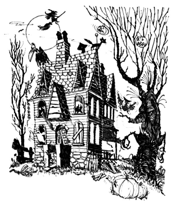 Witch Live In Haunted House Coloring Pages Coloring Sun