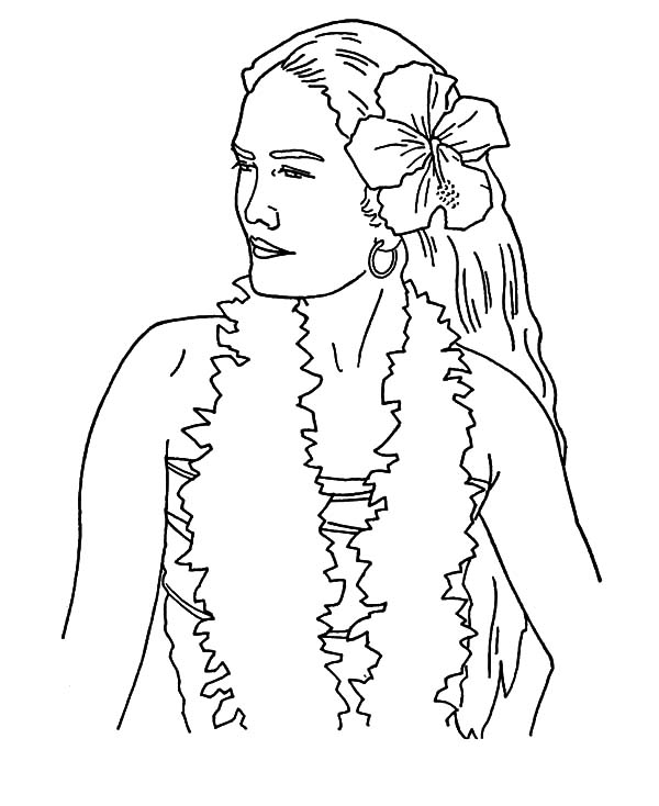 Hawaii, : Woman from Hawaii Coloring Pages
