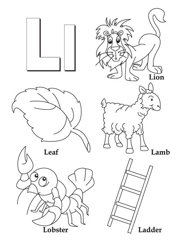 Letter l, : Word Begin with Letter L Coloring Page