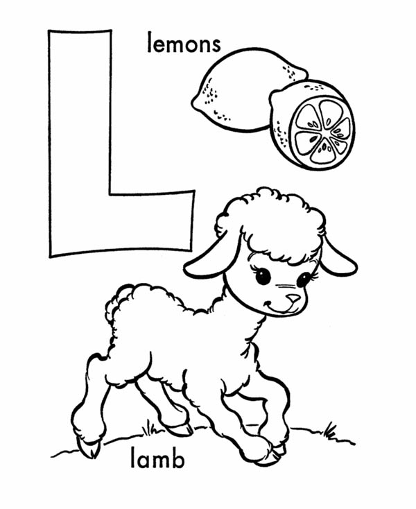 Letter l, : Words Starts with Letter L Coloring Page