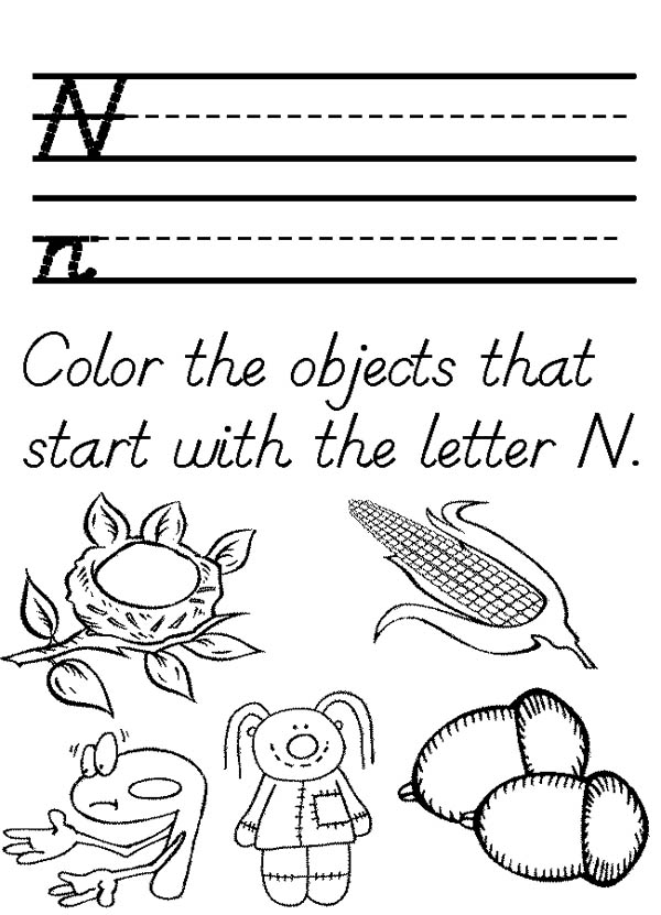 Letter n, : Words Starts with Letter N Coloring Page