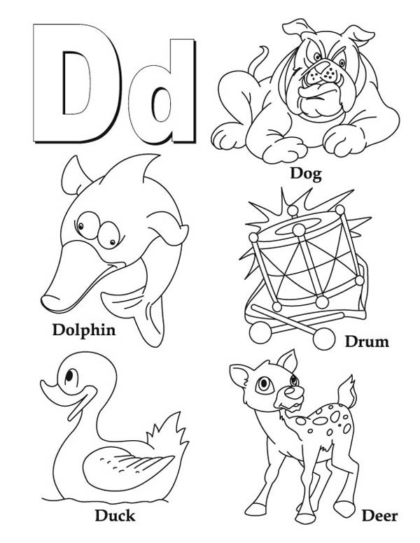 Letter D, : Words from Letter D Coloring Page